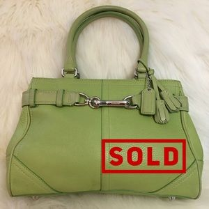 SOLD! COACH Lime Green Leather HAMPTON  Carry All